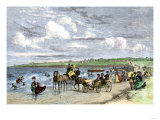 Summer Residents Enjoying the Beach in Newport, Rhode Island, 1870s Giclee Print