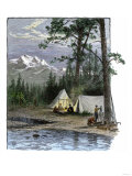 Railroad Surveyors' Camp in the Rocky Mountains, 1800s Giclee Print