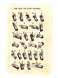 Single-Handed Alphabet in Sign Language, Used in the Us, 1800s Giclee Print