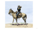Buffalo Soldier Drinking from His Canteen on a Desert March Giclee Print