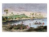 Diamond Head and Waikiki in the Hawaiian Islands, 1870s Giclee Print