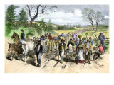 Freed Negroes Coming into the Union Lines at Newbern Nc, after the Emancipation Proclamation, 1863 Giclee Print
