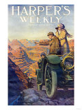 Tourists in an Automobile Visiting the Grand Canyon - Harper&#39;s Weekly Cover, Automotive Issue, 1911 Giclee Print