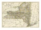 Map of New York State, 1870s Giclee Print