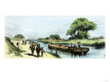 Grain-Boat Towed by a Mule Team on the Erie Canal, 1800s Giclee Print