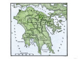 Map of the Peloponnesus of Ancient Greece, Giclee Print