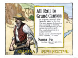 Arizona Prospector and the Grand Canyon Featured in a Santa Fe Railroad Ad, c.1900 Giclee Print