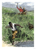 Escaped Slave Trying to Elude Slave Hunters and their Dog Giclee Print