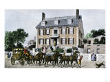 Horse-Drawn Carriage in Front of John Hancock's Mansion on Beacon Hill, Boston, 1700s Giclee Print