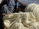 Knitting Needles and Handspun Wool Yarn at a Yorktown Reenactment, Virginia Photographic Print