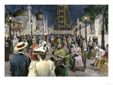 Columbian Exposition Visitors Strolling Along the Midway at Night, Chicago 1893 Giclee Print