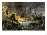 Sea Battle of Actium, in Which Octavius Defeated Antony and Cleopatra, 31 Bc Giclee Print