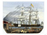 Clipper Ship R.B. Forbes in Boston, Taking on Cargo for California, 1851 Giclee Print