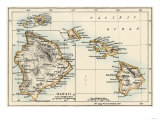 Map of the Hawaiian Islands, 1870s Giclee Print