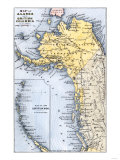Map of Alaska, the Aleutian Islands, and British Columbia, 1872 Giclee Print
