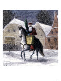 Saint Nicholas Riding into a Village Carrying a Basket and an Evergreen Bough Giclee Print