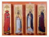 Saints Ambrose, Jerome, Augustine and Gregory Giclée-tryk af Sassetta