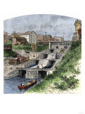 Boat in the Erie Canal Locks at Lockport, New York, 1870s Giclee Print