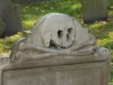 Skull and Crossbones on a Gravestone in the Old Granary Burying Ground, Boston, Massachusetts Photographic Print