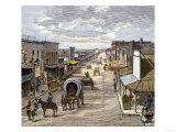 Main Street in Wichita, Kansas, 1870s Giclee Print