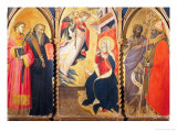 Triptych with the Annunciation and Saints Lawrence, Benedict, John the Baptist and Nicholas Giclée-tryk af Giovanni dal Ponte