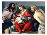 Madonna and Child Between Saints Roch and Sebastian Giclee Print by Lorenzo Lotto