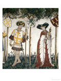 Braves and Heroines Series: Goffredo Di Buglione and Delfila Giclée-tryk af Giacomo Jaquerio