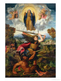 Saint Michael with the Devil and Our Lady of the Assumption Between Angels Giclée-tryk af Dosso Dossi