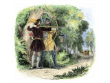Robin Hood and Little John Hunting Deer in Sherwood Forest Giclee Print