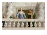 Giustiniani Barbaro and His Nurse with a Puppy Looking Out from a Mock Balcony Giclée-Druck von Paolo Veronese