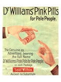 Dr Williams Pin Pills Medical Medicine, UK, 1890 Giclee Print