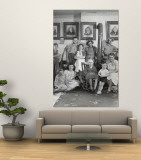 Four Generations of Farmers in Ozark Family Posing in Front of Portraits of Their Fifth Generation Wall Mural by Nina Leen
