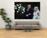 "US Pres. Richard M. Nixon with Daughter Tricia, Escorting Her Down ""Aisle"" in Rose Garden Wedding Wall Mural by Co Rentmeester"