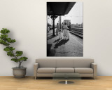 Insurance Broker Charles Hoffman's Wife Bringing Children to Train Station to Wait for His Arrival Premium Wall Mural by Nina Leen