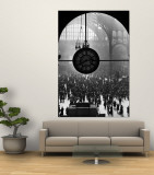 Clock in Pennsylvania Station Wall Mural by Alfred Eisenstaedt