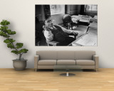 Mayor Fiorello LaGuardia Blowing Smoke Rings Sitting at Desk in His Office Wall Mural by William C. Shrout