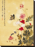 Corn Poppy and Butterflies, 1702 Stretched Canvas Print by Ma Yuanyu