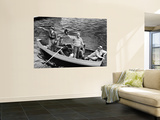 President Harry S. Truman Standing in Rowboat, Fishing with Others Wall Mural by George Skadding