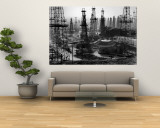Forest of Wells, Rigs and Derricks Crowd the Signal Hill Oil Fields Premium Wall Mural by Andreas Feininger