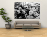 Wide Range of Facial Expressions on Children at Puppet Show the Moment the Dragon is Slain Wall Mural by Alfred Eisenstaedt