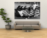 Patriotic Old Female Immigrants Sewing an American Flag under Supervision of Instructor Rose Radin Wall Mural
