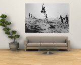Bushman Children Playing Games on Sand Dunes Wall Mural by Nat Farbman