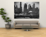 New York Harbor with Its Majestic Silhouette of Skyscrapers Looking Straight Down Bustling 42nd St. Wall Mural by Andreas Feininger