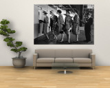 5 Models Wearing Fashionable Dress Suits at a Race Track Betting Window, at Roosevelt Raceway Wall Mural by Nina Leen