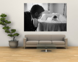Sen. Jack Kennedy Admiring Baby Caroline as She Lies in Her Crib in Nursery at Georgetown Home Premium Wall Mural by Ed Clark