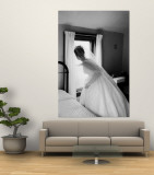 Bride Prepares For Wedding, in Traditional White Gown, 19th Century Wedding Dress Premium Wall Mural by Michael Rougier
