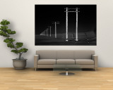 Row of Telephone Poles Along Bonneville Salt Flats Wall Mural by Fritz Goro