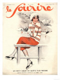 Le Sourire, Ice Skating, Winter Sport Magazine, France, 1930 Prints