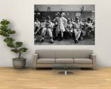 Boys Club Little League Baseball Players Putting on Their Uniforms Prior to Playing Game Wall Mural by Yale Joel