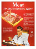 Convalescents Meat Eating Soldiers WWII, USA, 1940 Prints